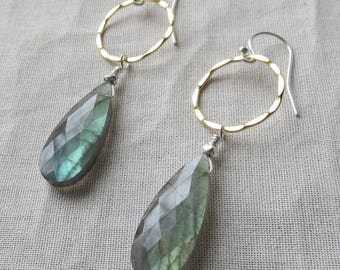 Flashy Large Labradorite Earrings in Gold and Silver