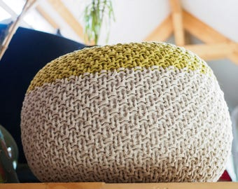 BUMS + FEET 2 Knitted Pouf - ottoman, foot stool, floor pillow - made-to-order with a robust, woven yarn