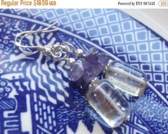 ON SALE Amethyst Earrings - Czech Glass Earrings - Silver Earrings - Leverback Earrings - Bridesmaid Earrings