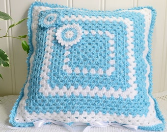 Soft granny square crochet cushion cover, handmade Swedish , Blue and White , NO insert included