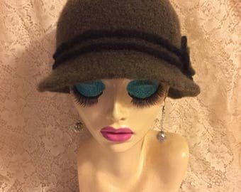 Deep Olive Vintage Inspired Crocheted Felted Cloche Flapper Hat 'Molly'