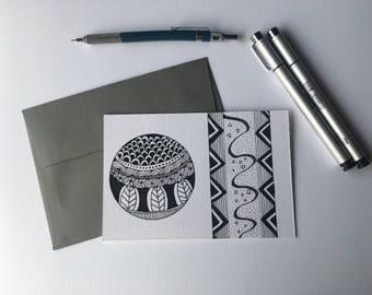 Movement- Black & white, blank flat cards, any occasion, stationery set, geometric patterns, hand drawn