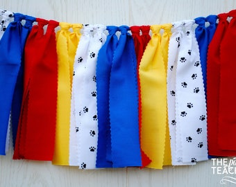 Paw Patrol Fabric Bunting - FREE Shipping - Paw Patrol Bunting - Paw Patrol Garland - Paw Patrol Party Banner - Paw Patrol Party