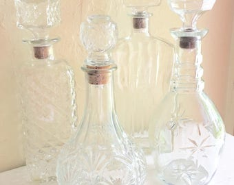 Set of 4 Glass Liquor Decanters Alcohol Bottles All with Cork Stoppers
