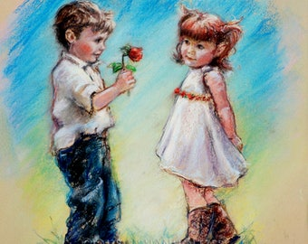"Couple print Wedding gift Anniversary sweethearts Boy and Girl illustration kids art ""LOVE YOU"" Canvas or art paper Laurie Shanholtzer"