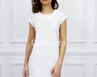 ON SALE Glamzam New Womens Ladies Cap Short Sleeve Shift Mini Day Crepe White Dress