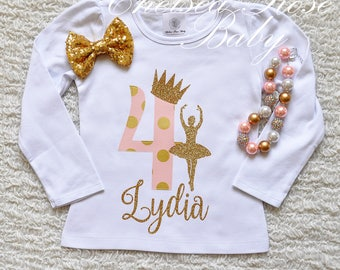 Pink Gold Birthday Shirt and skirt set, Pink Gold 1st Birthday, First Ballet Birthday Outfit, Pink Gold 2nd Birthday, 1st Birthday