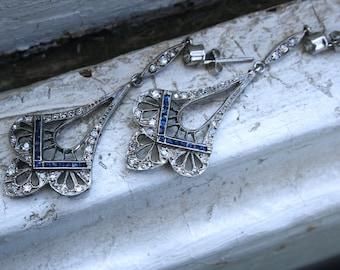 Platinum Antique Diamond and Sapphire Chandelier Dangle Earrings - 2.22ct.