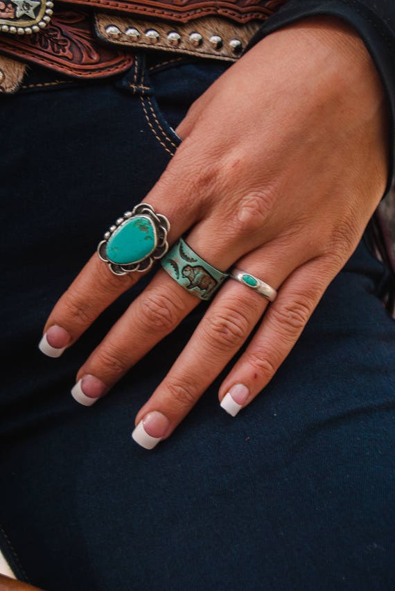 Leather tooled ring