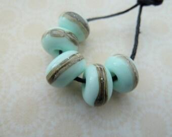 handmade mint green wrapped lampwork glass beads, UK set
