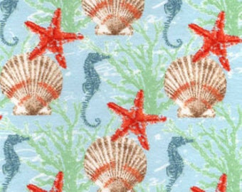 Snuggle Flannel Fabric - Starfish and Seashells - Sold by the Yard