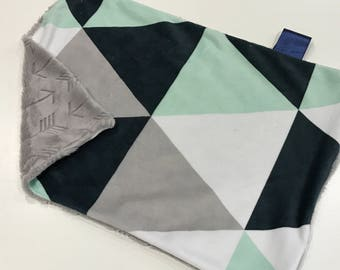 Navy Blue, Mint and Grey Triangle Puzzle Baby Boy MINKY Lovey Blanket, MINI Minky Baby Boy Blanket, Taggie Blanket, Arrow Baby Blanket