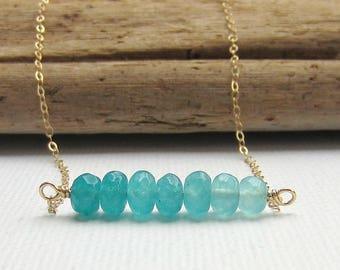 Gemstone Bar Necklace - Aquamarine - Gemstone Necklace - Layering Necklace - Dainty Necklace - Bar Necklace - Gold - Minimal Necklace