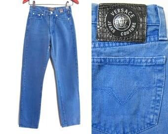 vintage jeans / vintage Versace / 90s hip hop clothing / 1990s blue Versace Jeans Coutour jeans 25