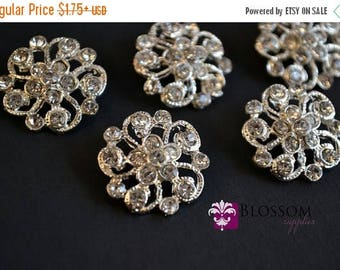 ON SALE Metal Rhinestone Buttons with Loop Crystal Clear 21mm - Flower Centers - Wedding Bridal Prom Jewels - Blossom Supplies Wholesale Cra