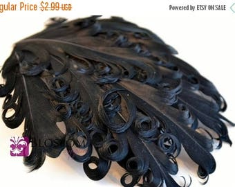 ON SALE 1 Curly Nagorie Feather Pad - Goose Feather Pad - Black Feathers - DIY Headband Hair Clip Hat Supplies - Wedding Newborn Photo Prop