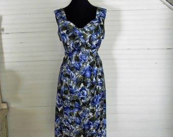Blue Floral Dress, Vintage 1960s Sundress,