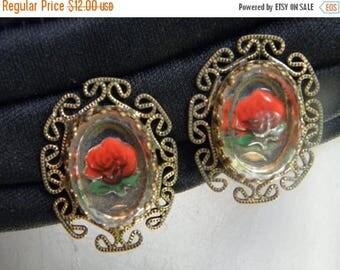 10% OFF Crystal Reverse Carved Roses & Painted Vintage Clip Earrings