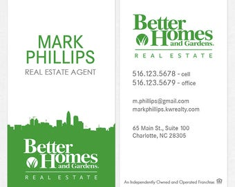 no photo Better Homes and Gardens real estate DELUXE business cards - thick, color both sides - FREE UPS ground shipping