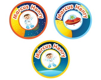 Iron-On Labels (2 Sizes), Astronaut Boy (Pick Your Hair/Skin Color)