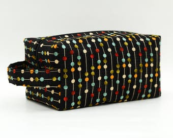 Colorful Dots & Stripes Quilted Cosmetic Bag with Handle, Boxy Pouch; Boxy Bag; Make-Up Bag; Travel Bag; First Aid Kit; Shave Bag