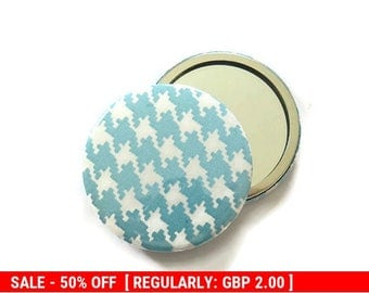 1 x Turquoise Fabric Covered Pocket Mirror - Fabric Covered Handbag Mirror - Small Handbag Mirror