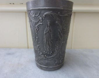 Holy Water Cup, Pewter,  Art Nouveau, Lourdes Souvenir, French Circa 1970's