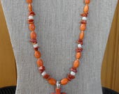 21 Inch Orange Stone Cross and Red Sponge Coral Necklace with Earrings