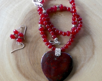 19 Inch Red Japser Heart Beaded Necklace with Earrings