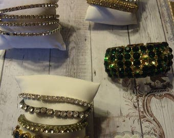 Lot of 13 Vintage to Now Rhinestone Bracelets for Repair or Repurpose