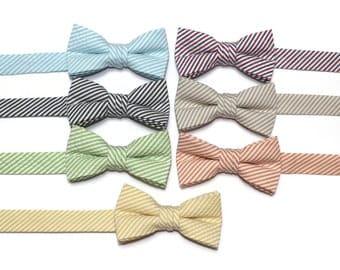 Boys Seersucker Bow Ties~Boys Bow Tie~Boys Stripe Bow Ties~Cotton Bow Tie~Church Tie~ Wedding~Ring Bearer~ Tie~Sky Blue~Black~Green~Yellow