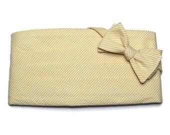 Lemon Yellow Seersucker Stripe Cummerbund & Bow Tie~Mens Cummerbund Set~Mens Formal Wear~Groomsmen~Groom~Self Tie Bow Tie~Men Gift~Wedding