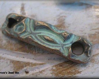 Small Handmade Solid Bronze  Bracelet Component - Light Aqua Verdigris Patina!