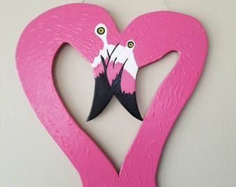 Love Flamingos Door Hang, Wall Art! Hand crafted with hand cut wood, hangs from a wire. Valentine decor, Mother's Day, Beach, Nautical