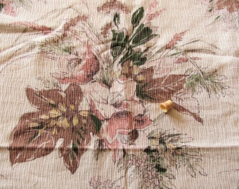 bouquets on cream floral print vintage cotton curtain panel