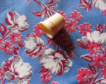 red, gray and blue floral print vintage cotton fabric -- 35 wide by 2 1/3 yard