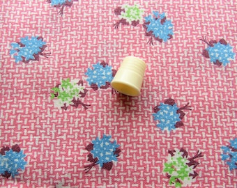 vintage FULL feed sack fabric -- blue and green bouquets on pink