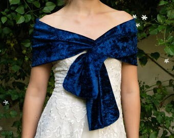 Velour / velvet stole shawl wrap shrug wedding dress, 150 cm x 30 cm , finest fabric ,navy blue marine blue shawl bolero wedding accessory