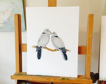 ORIGINAL ARTWORK of Eurasian Collared Doves, Original Drawing by Paula Kuitenbrouwer. Engagement, Wedding, Marriage Gift. Symbols of Love.