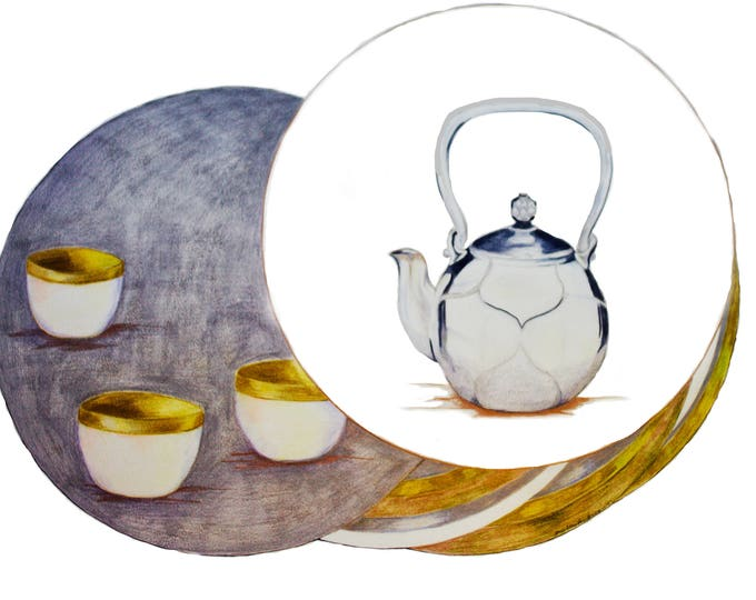 Feng Shui Metal Element, Metal Tea Pot with White Wash, Gold Paint coated teacups, , Fengshui Metal Symbols, Stillife Art Print.