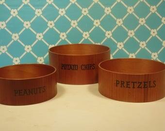 Vintage Wood Snack Bowls - Set Of 3 - Maison International - Made In Japan