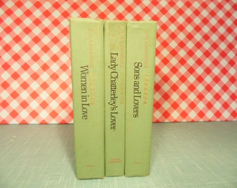 Vintage D H Lawrence Romance Books - Green Cover - Set Of 3 Books - Wedding Decor