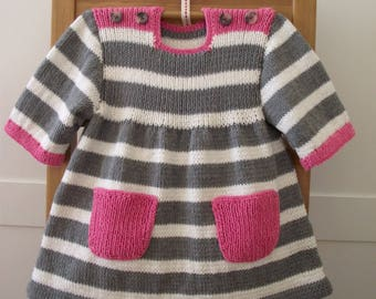 Knitting Pattern Baby Dress - Happy Day Baby Dress - baby girl knitting pdf pattern instant download stripes dress knit pattern