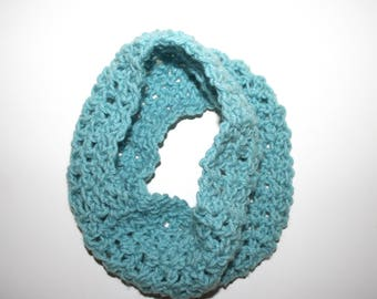 """Lt Teal Blue Infinity Scarf / Cowl Light Airy Crocheted Scarf Approx 6x21"""" Women Teen Winter Accessory Handmade Gift by CzechBeaderyShop"""