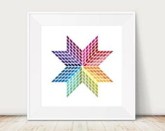 Geometrical Star Cross Stitch Pattern, Rainbow, PDF, Instant Download