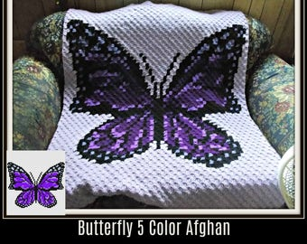 Butterfly Afghan in Purples, 5 Color Butterfly, Butterfly C2C Graph, Crochet Pattern