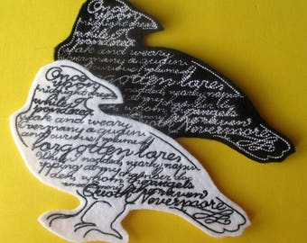 Large Embroidered Applique Patch 4.25 by 6.25  Inches, Edgar Allen Poe, Quoth the Raven Nevermore, Iron On, Biker Patch, Book Bags, Crafts