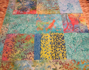 """14"""" x 14"""" PILLOW COVER - Energizing Tropical Singing Bird in 9 Squares of Nature Fine Cotton Batiks"""