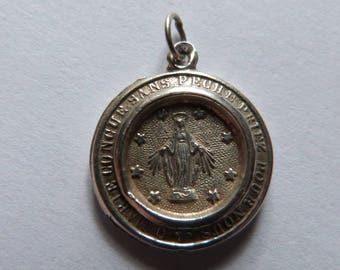 Antique Silver Miraculous Medal Catholic Religious Charm of the Virgin Mary