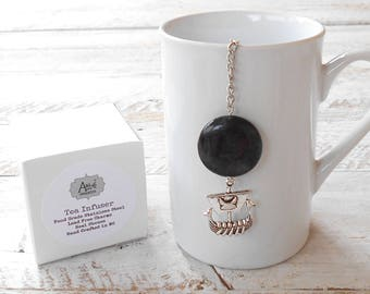 Tea Infuser, Viking Longship, Round Blackstone, Strength, Manly, Lead Free, Gift Boxed, Game of Thrones, Warrior, Ragnar, Gift for Him